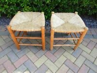 Pair of Rattan topped stools- great condition
