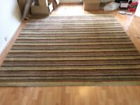 Large striped wool rug, from pet-free home