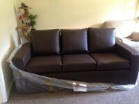 brand new 3 Seat Faux Leather sofacouch brown