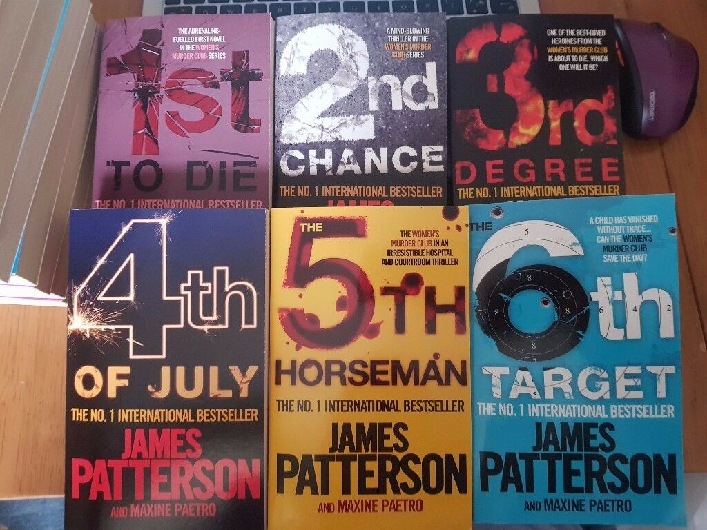 6 x James Patterson Books - Women's Murder Club - 1st to Die, 2nd Chance, 3rd Degree, 4th of July