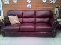 Sofa italian leather three seater good quality good condition chic brown large