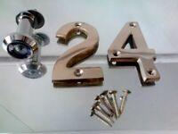 BRASS Door Numbers 2, 4 and screws + Spyhole £5