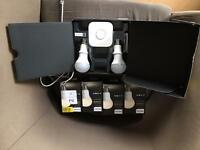 Philips hue white starter kit and four extra white bulbs.