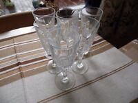 6 Beautiful Genuine Crystal small Wine glasses.