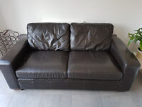2 seater and 3 seater dark brown leather sofa from NEXT
