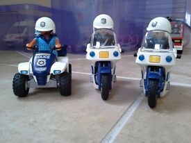 Playmobil - 2 police motorbikes and quad bike