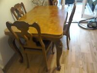 C 1900 French Provincial Hand Carved Extending Dining Table and Chairs