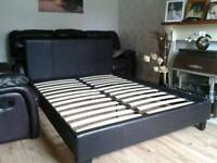Nice King Faux Leather Bed (delivery available)