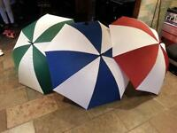 from £1.50 three different Colour Golf Umbrella`s. Red Blue Green all with White 1000`s available