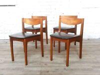 FREE DELIVERY***Nathan Vintage Mid Century Teak & Vinyl Retro Set of 4 Chairs
