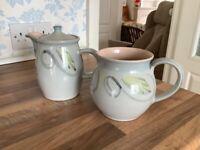 Denby Peasant Ware coffee pot and jug