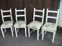Dining chairs x 4 ideal shabby chic project been covered have wicker pads underneath delivery £15