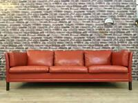 Vintage Danish 1970's 3 Seater Red Leather Sofa