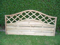 Fence Panels - 2 x Unused, Pressure Treated, Curved Trellis top (£50-60 each new)
