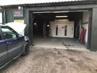 Fully equipped garage unit workshop spray booth to share