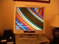 2 computer monitors,MEDION and LENOVO.