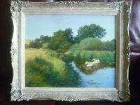 Graham Petley Original Oil Painting, Rural Country/River Scene, Swans, Framed