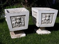 2 large ornamental stone garden planters - great condition - See photos