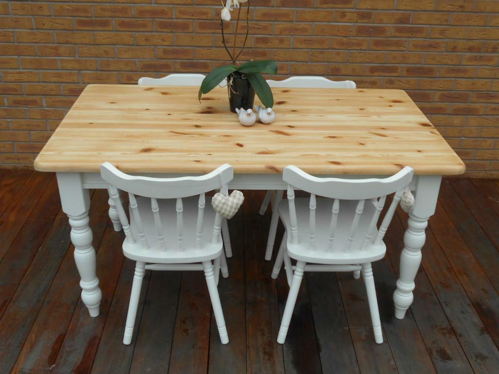 Shabby Chic Country Cottage Pine Table And 4 Chairs
