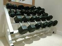 Dumbells and heavy duty weight rack