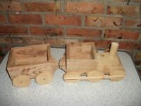NEW HANDMADE WOODEN TRAIN AND CARRIAGE PLANTER
