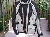 Weise Motorcycle Jacket, Size XL, Silver and Black, with removable padded liner