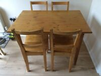Pine table and 4Chairs