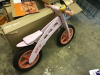 Kids wooden joey balance bike