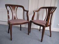 Pair of Antique / Vintage Mahogany Tub / Corner Chairs