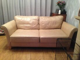 Cream Leather Sofa 3 & 4 Seater For Sale - £100 ono