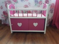 Doll cot bed with storage