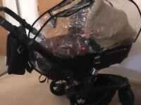 Jane trider pushchair and transporter 2 carry cot car seat travel system in vgc