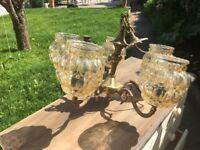 Vintage Gilt and Glass Chandelier Ceiling Light Ornate