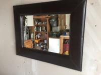 "LARGE REAL LEATHER MIRROR from ""NEXT"". This BEAUTIFUL"
