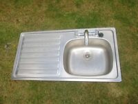 Kitchen sink, drainer and mixer tap