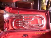 "TENOR HORN in MINT , AS NEW CONDITION , in SILVER PLATE made by ENGLISH "" BESSON """