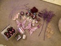 Bunch of purple/pink xmas tree decorations