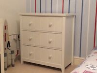 Kids white NEXT full size single bed and two chests of drawers. Excellent condition.