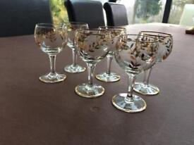 6 Antique/Vintage Gold Leaf Wine Glasses