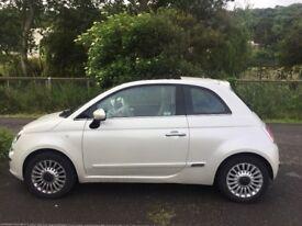 Fiat 500 lounge, pearl white ,12 mths MOT as of December