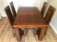 Debenhams Acacia 'Elba' extending table and 4 slatted back chairs - excellent condition