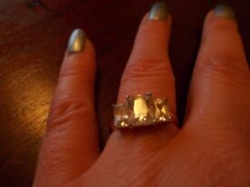 Gold Plated 3 Stone Diamante Ring