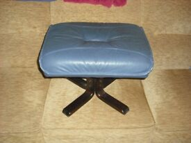 Blue leather swivel chair and matching stool