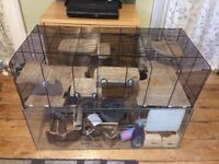 Very falco large gerbil, rat cage in excellent condition with wooden top quality accessories