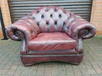 Chesterfield genuine oxblood leather club chair EXCELLENT CONDITION! BARGAIN!
