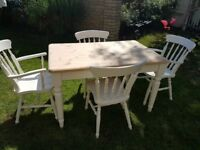 Painted pine table and 4 chairs