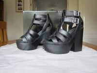Black leather sandal with block heel and platform sole UK size 5.