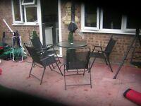 garden patio set with parosel