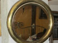 Old Brass Round Mirror - Nautical