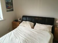 King Size Bed and Mattress - Faux Leather, good condition..